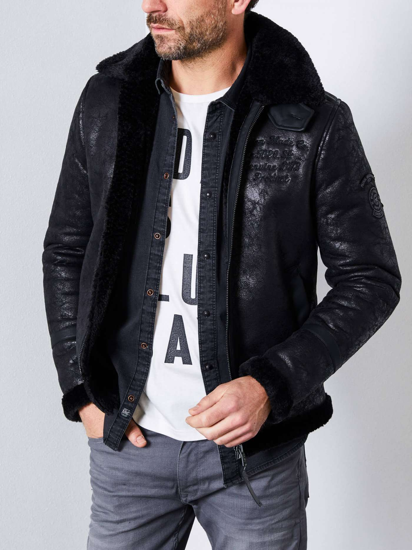 Lined bomber jacket