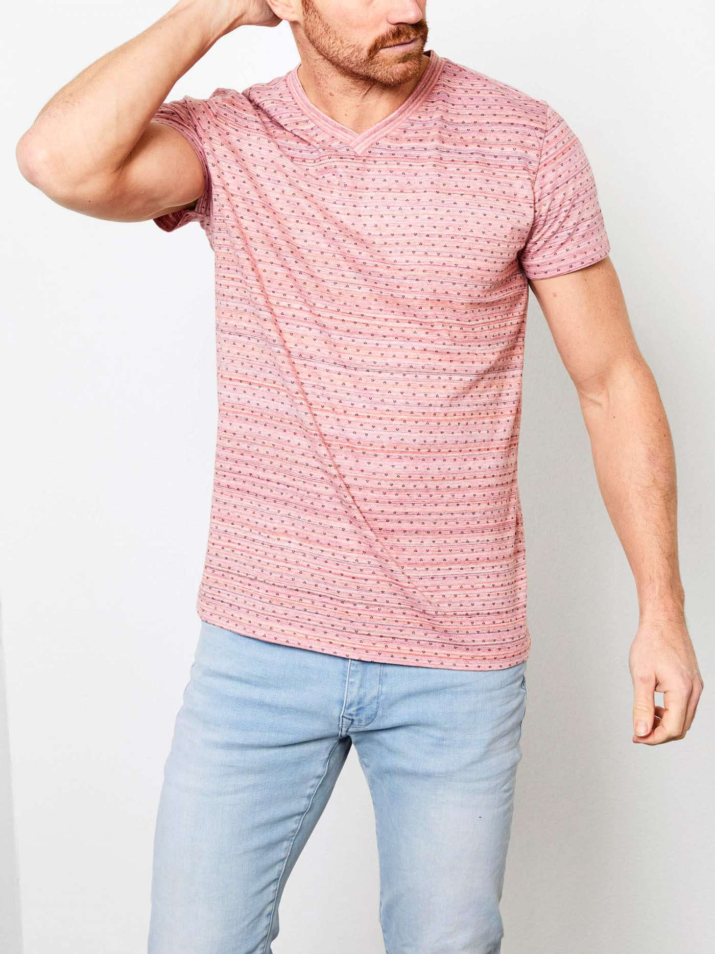 V-neck T-shirt with all-over print