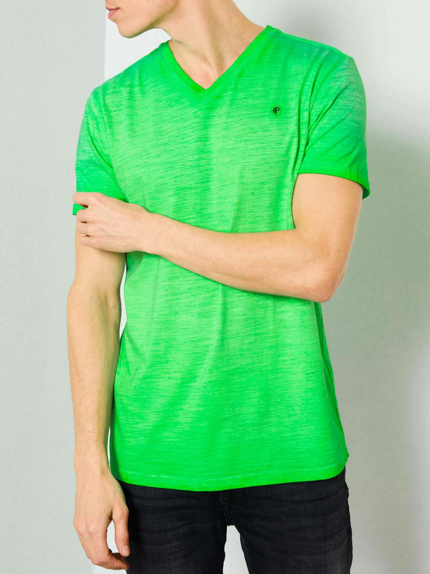 Marl V-neck T-shirt